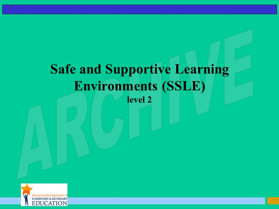 Safe and Supportive Learning Environments (SSLE) level 2