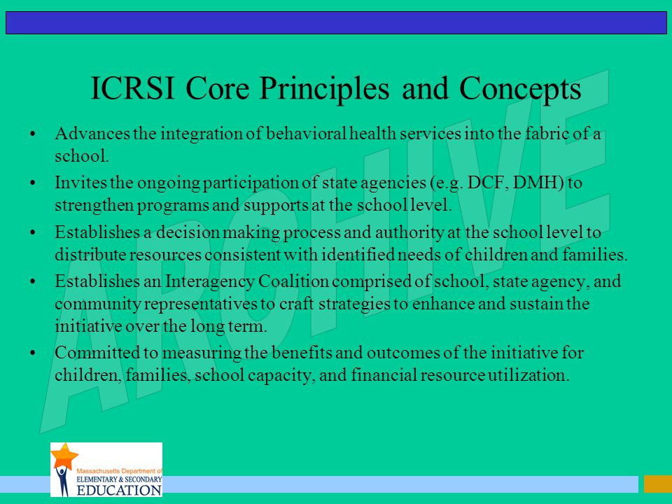 ICRSI Core Principles and Concepts Advances the integration of behavioral health services into the fabric of a school.