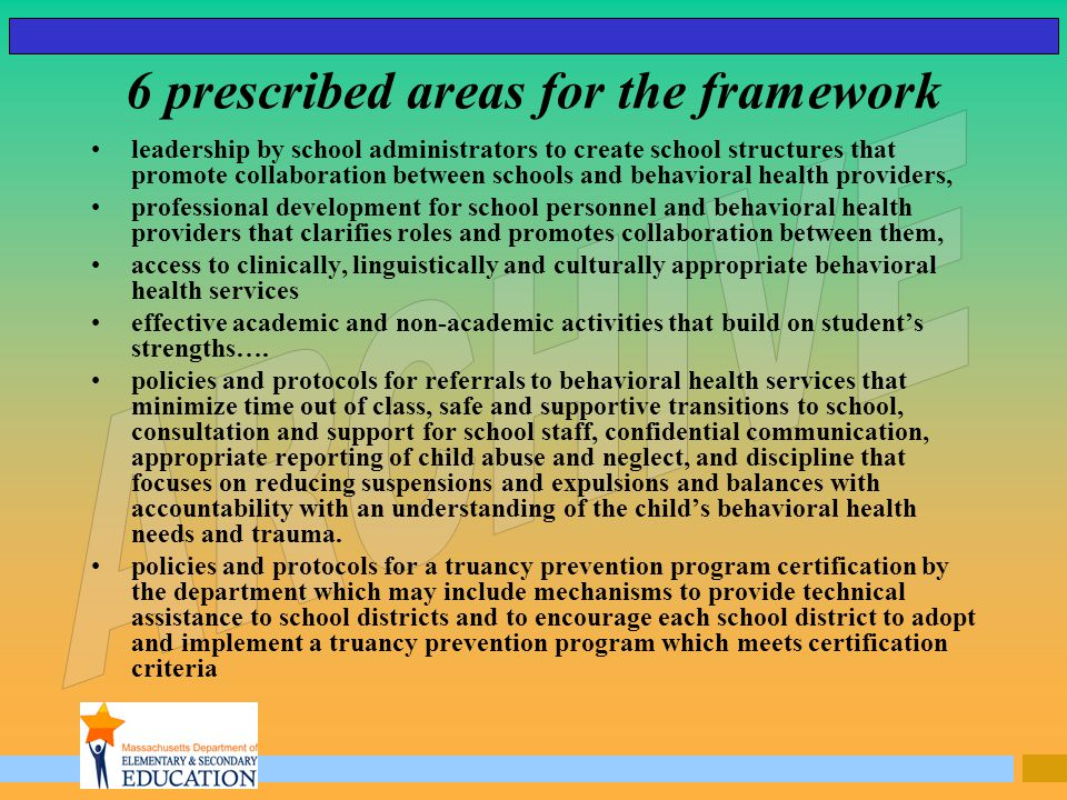 6 prescribed areas for the framework leadership by school administrators to create school structures that promote collaboration between schools and be