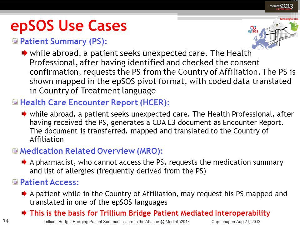 14 epSOS Use Cases Copenhagen Aug 21, 2013Trillium Bridge: Bridging Patient Summaries across the Atlantic @ Medinfo2013 Patient Summary (PS): while ab