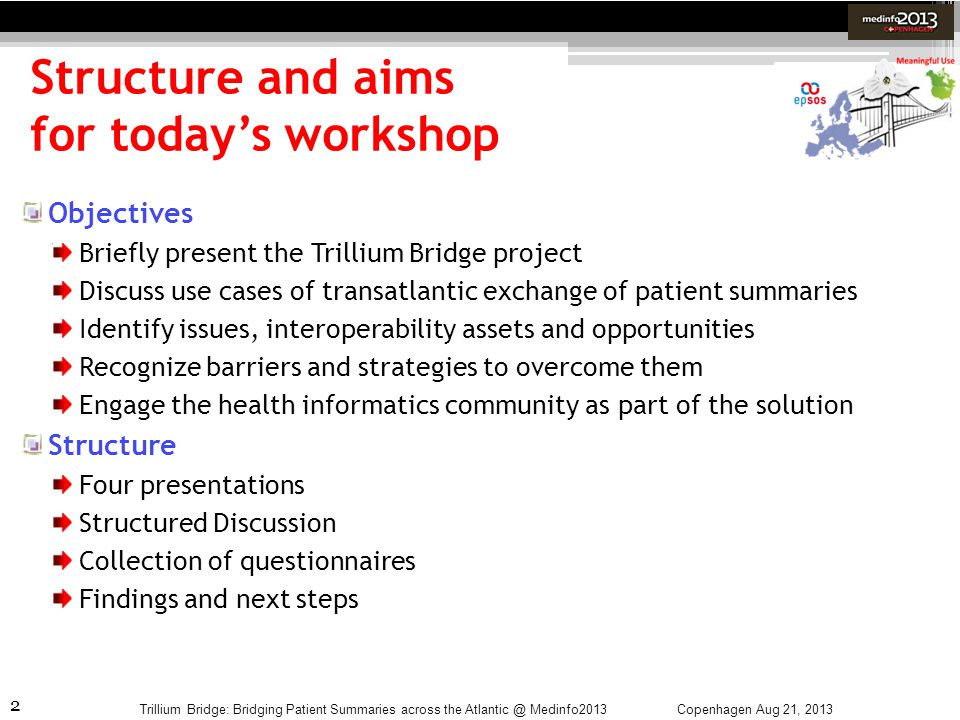 2 Structure and aims for todays workshop Trillium Bridge: Bridging Patient Summaries across the Atlantic @ Medinfo2013 Objectives Briefly present the