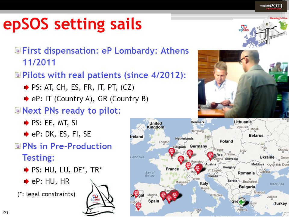 21 epSOS setting sails First dispensation: eP Lombardy: Athens 11/2011 Pilots with real patients (since 4/2012): PS: AT, CH, ES, FR, IT, PT, (CZ) eP: