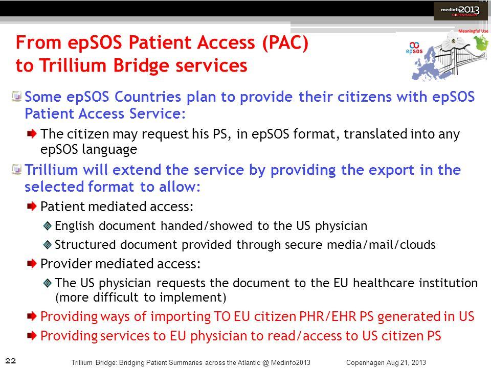 22 From epSOS Patient Access (PAC) to Trillium Bridge services Copenhagen Aug 21, 2013Trillium Bridge: Bridging Patient Summaries across the Atlantic