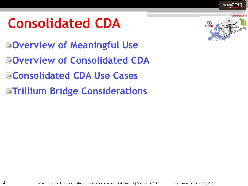 24 Consolidated CDA Copenhagen Aug 21, 2013Trillium Bridge: Bridging Patient Summaries across the Atlantic @ Medinfo2013 Overview of Meaningful Use Ov