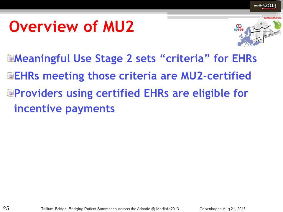 25 Overview of MU2 Copenhagen Aug 21, 2013Trillium Bridge: Bridging Patient Summaries across the Atlantic @ Medinfo2013 Meaningful Use Stage 2 sets cr