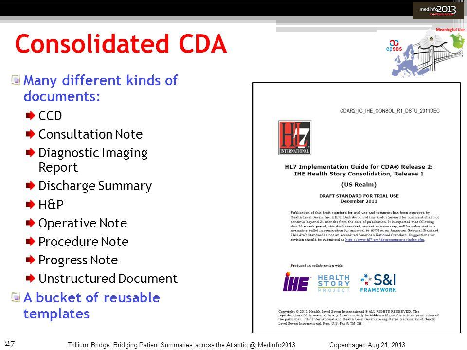 27 Consolidated CDA Copenhagen Aug 21, 2013Trillium Bridge: Bridging Patient Summaries across the Atlantic @ Medinfo2013 Many different kinds of docum