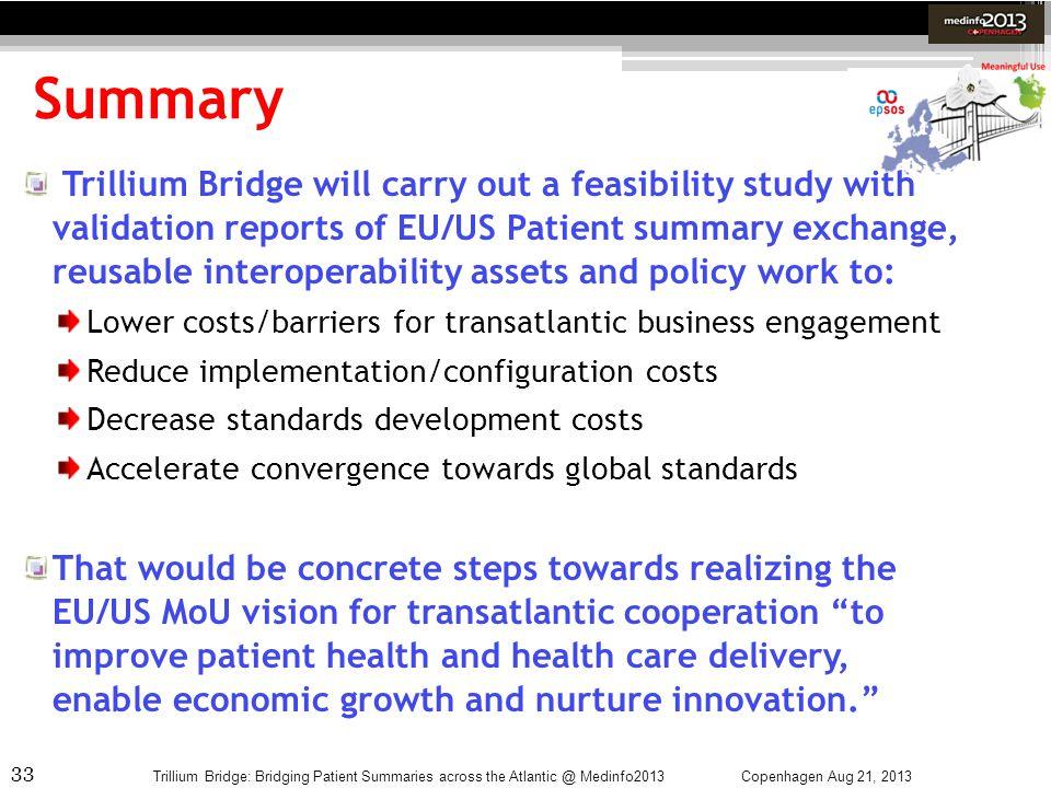 33 Summary Copenhagen Aug 21, 2013Trillium Bridge: Bridging Patient Summaries across the Atlantic @ Medinfo2013 Trillium Bridge will carry out a feasi