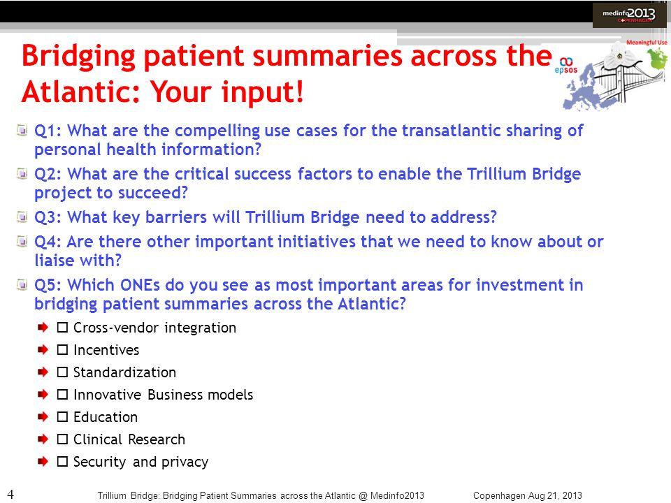 4 Bridging patient summaries across the Atlantic: Your input! Copenhagen Aug 21, 2013Trillium Bridge: Bridging Patient Summaries across the Atlantic @