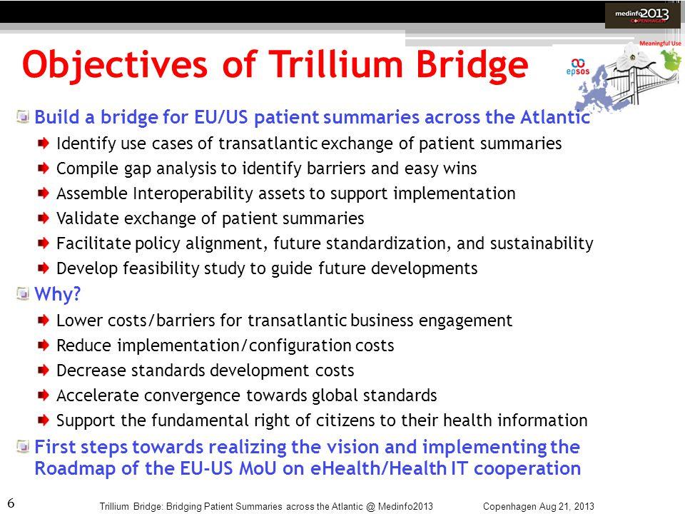 6 Objectives of Trillium Bridge Trillium Bridge: Bridging Patient Summaries across the Atlantic @ Medinfo2013 Build a bridge for EU/US patient summari