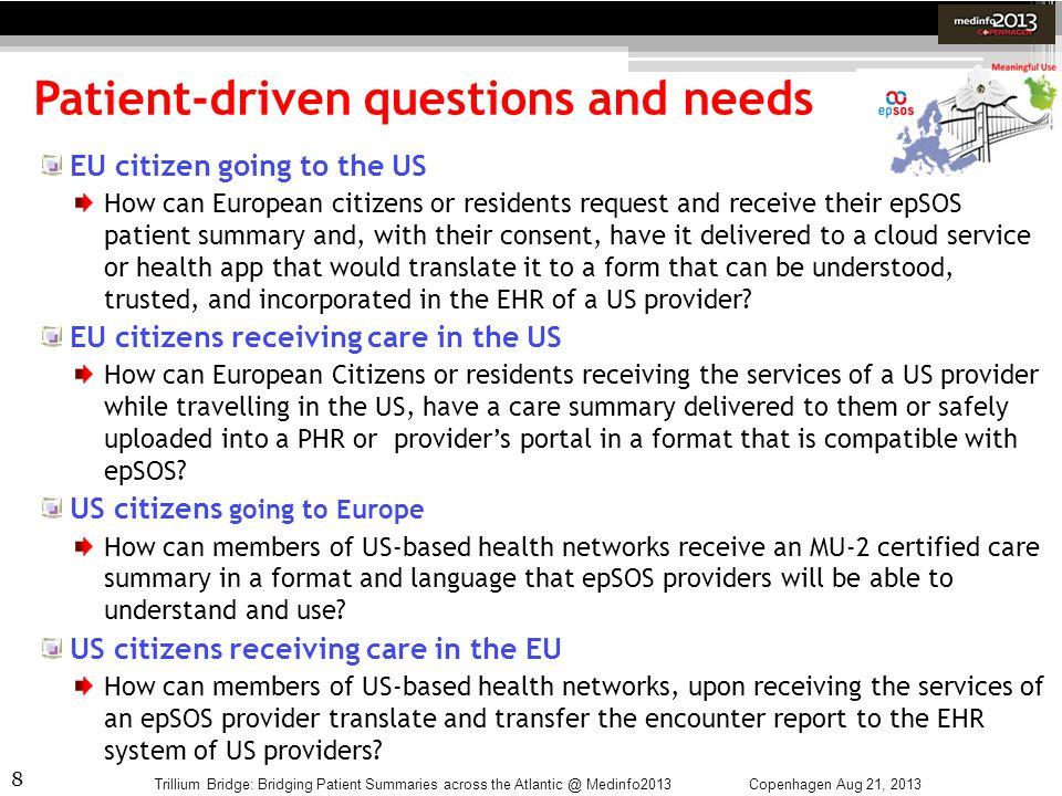 8 Patient-driven questions and needs Copenhagen Aug 21, 2013Trillium Bridge: Bridging Patient Summaries across the Atlantic @ Medinfo2013 EU citizen g