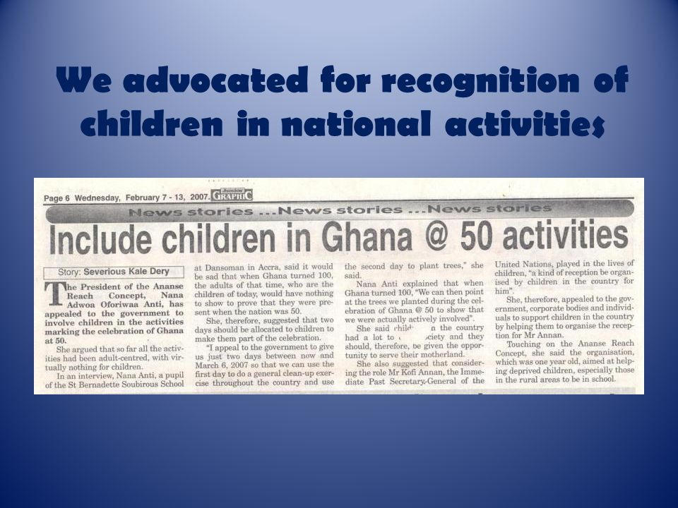 We advocated for recognition of children in national activities
