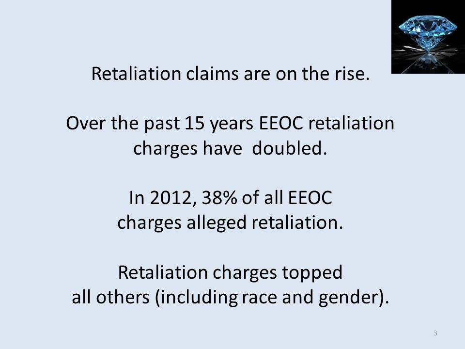 Retaliation claims are on the rise. Over the past 15 years EEOC retaliation charges have doubled. In 2012, 38% of all EEOC charges alleged retaliation