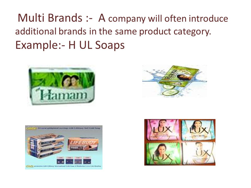 Multi Brands :- A company will often introduce additional brands in the same product category.