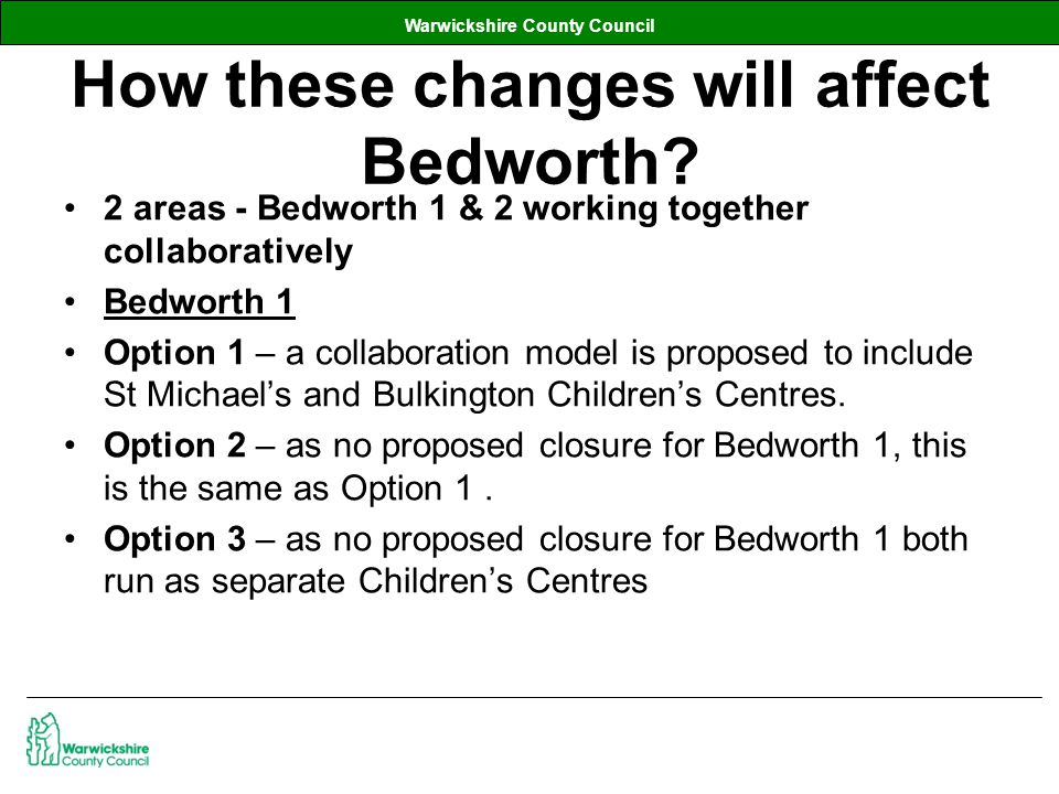 Warwickshire County Council How these changes will affect Bedworth.