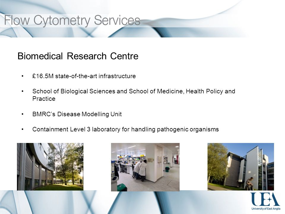 Biomedical Research Centre £16.5M state-of-the-art infrastructure School of Biological Sciences and School of Medicine, Health Policy and Practice BMRCs Disease Modelling Unit Containment Level 3 laboratory for handling pathogenic organisms
