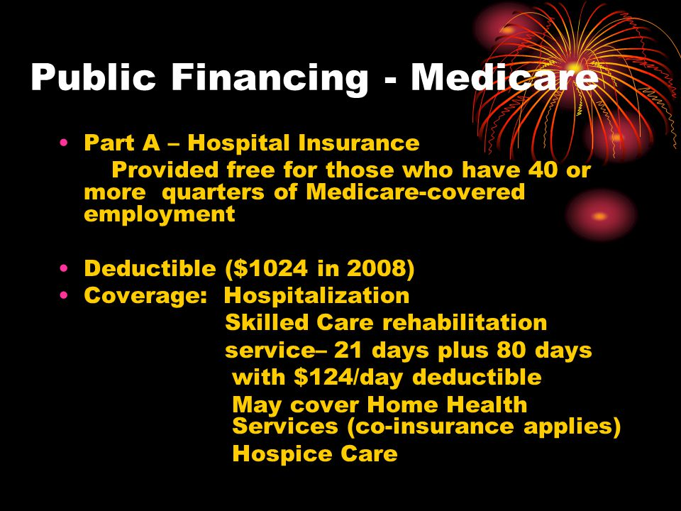 Public Financing - Medicare Part A – Hospital Insurance Provided free for those who have 40 or more quarters of Medicare-covered employment Deductible