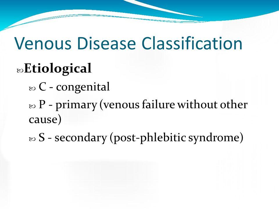 Venous Disease Classification Clinical C0 - No visible or palpable venous disease C1 - Telangectasias or reticular veins C2 - Varicose veins C3 - Edem