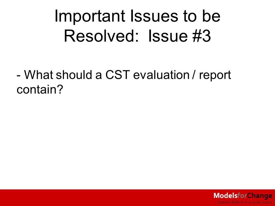 ModelsforChange Systems Reform in Juvenile Justice Important Issues to be Resolved: Issue #3 - What should a CST evaluation / report contain