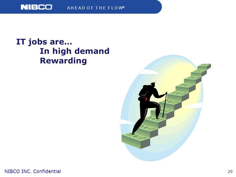 A H E A D O F T H E F L O W ® NIBCO INC. Confidential 29 IT jobs are… In high demand Rewarding