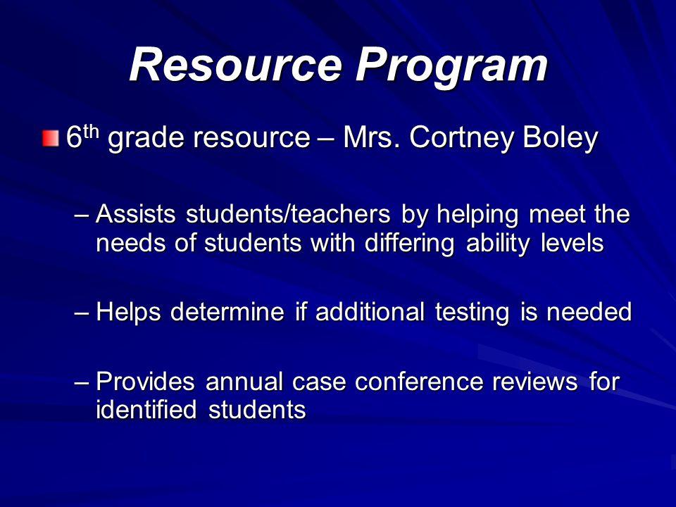 Resource Program 6 th grade resource – Mrs.