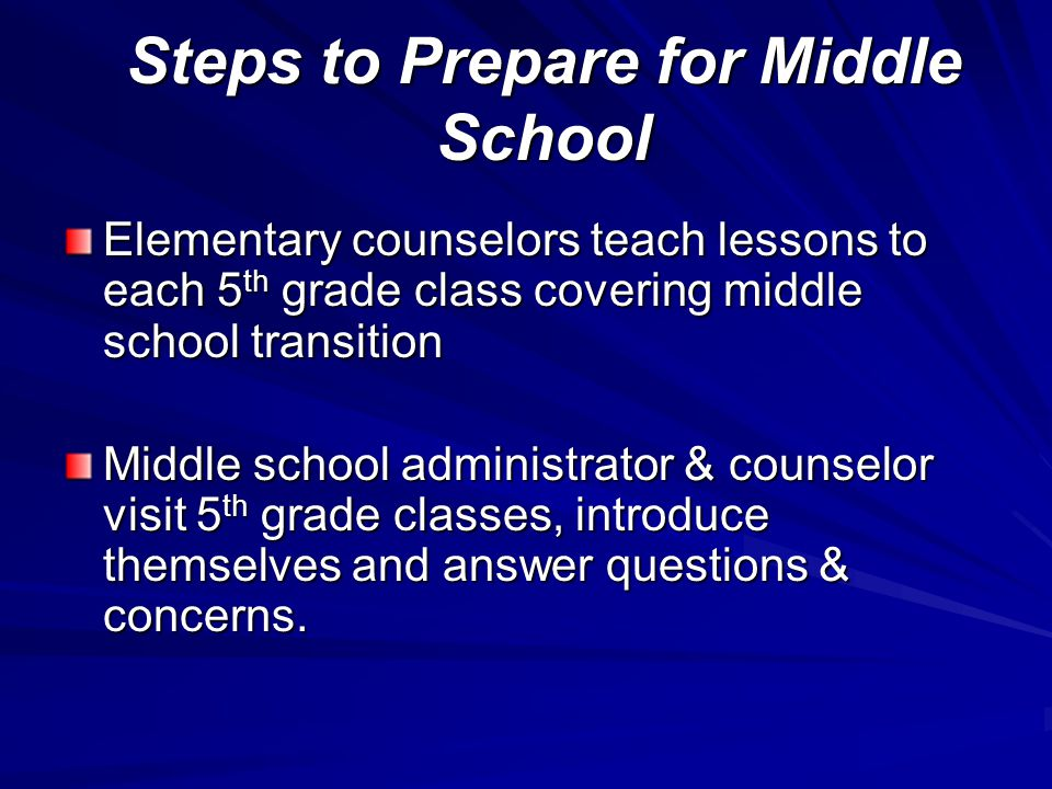 Steps to Prepare for Middle School Elementary counselors teach lessons to each 5 th grade class covering middle school transition Middle school administrator & counselor visit 5 th grade classes, introduce themselves and answer questions & concerns.