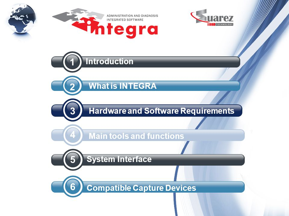 4 3 2 1 Introduction What is INTEGRA Hardware and Software Requirements Main tools and functions 5 System Interface 6 Compatible Capture Devices
