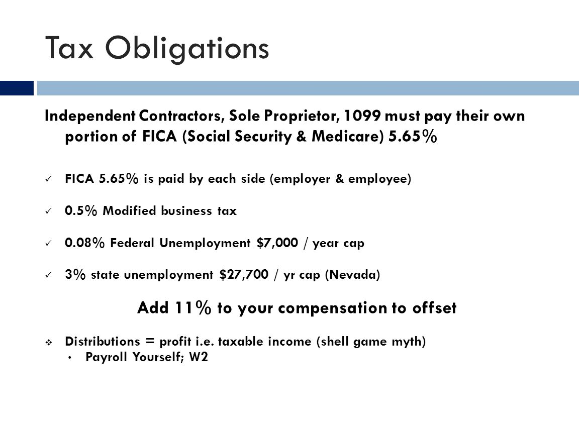 Tax Obligations Independent Contractors, Sole Proprietor, 1099 must pay their own portion of FICA (Social Security & Medicare) 5.65% FICA 5.65% is pai