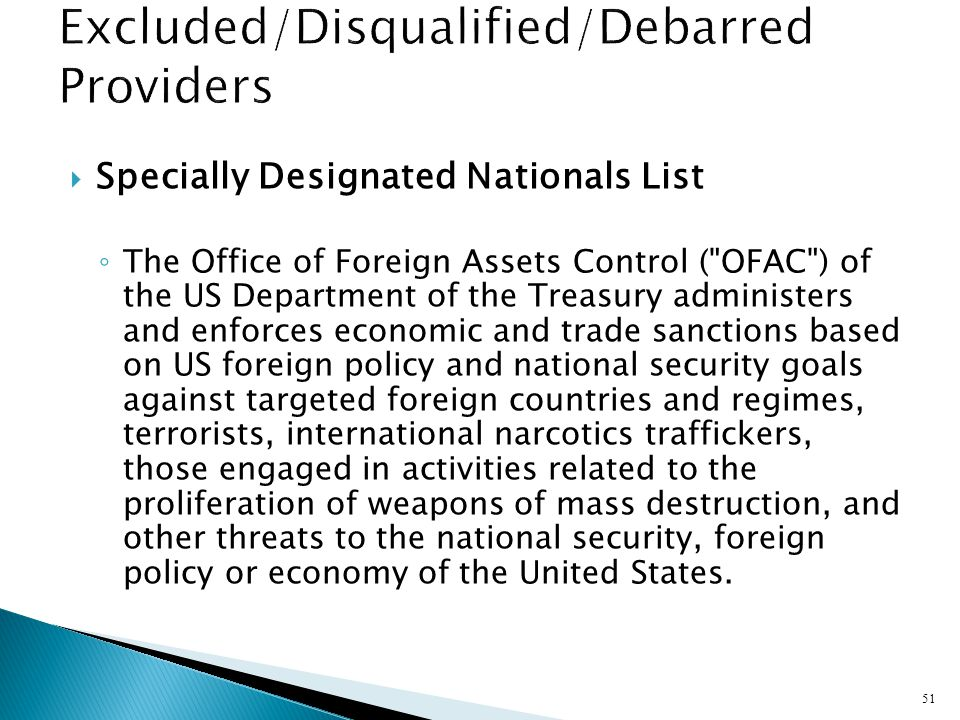 Specially Designated Nationals List The Office of Foreign Assets Control (
