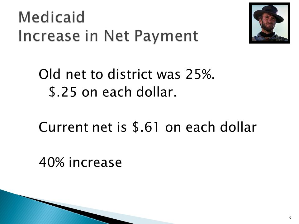 Old net to district was 25%. $.25 on each dollar. Current net is $.61 on each dollar 40% increase 6