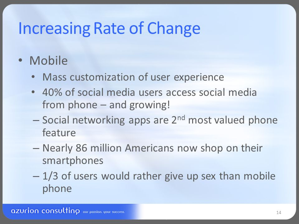 Increasing Rate of Change Mobile Mass customization of user experience 40% of social media users access social media from phone – and growing.