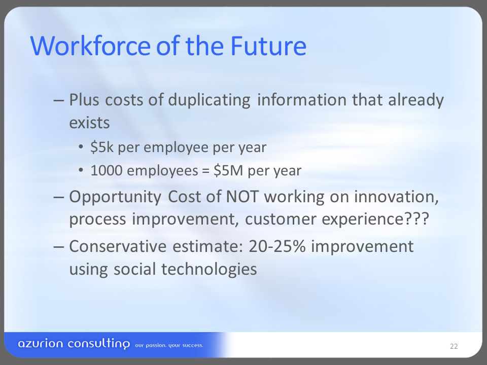 Workforce of the Future – Plus costs of duplicating information that already exists $5k per employee per year 1000 employees = $5M per year – Opportunity Cost of NOT working on innovation, process improvement, customer experience .