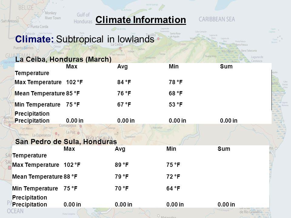 Climate Information Climate: Subtropical in lowlands La Ceiba, Honduras (March) MaxAvgMinSum Temperature Max Temperature102 °F84 °F78 °F Mean Temperat