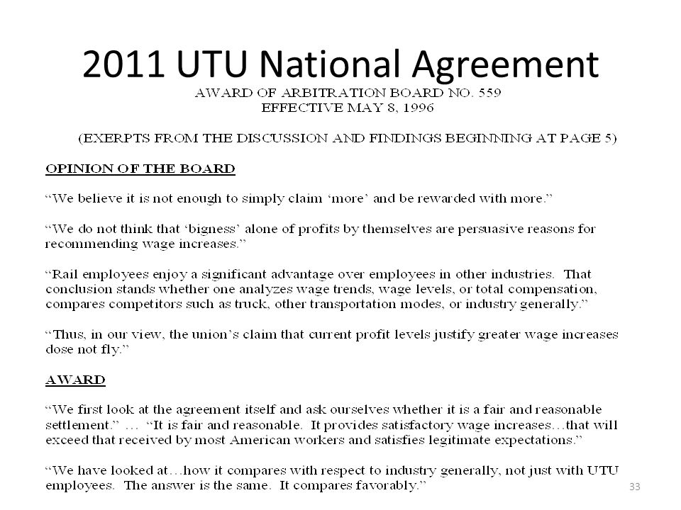 2011 UTU National Agreement 33