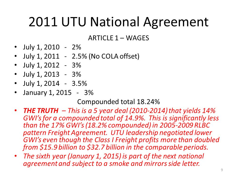 2011 UTU National Agreement ARTICLE 1 – WAGES July 1, 2010 - 2% July 1, 2011 - 2.5% (No COLA offset) July 1, 2012 - 3% July 1, 2013 - 3% July 1, 2014 - 3.5% January 1, 2015 - 3% Compounded total 18.24% THE TRUTH – This is a 5 year deal (2010-2014) that yields 14% GWIs for a compounded total of 14.9%.