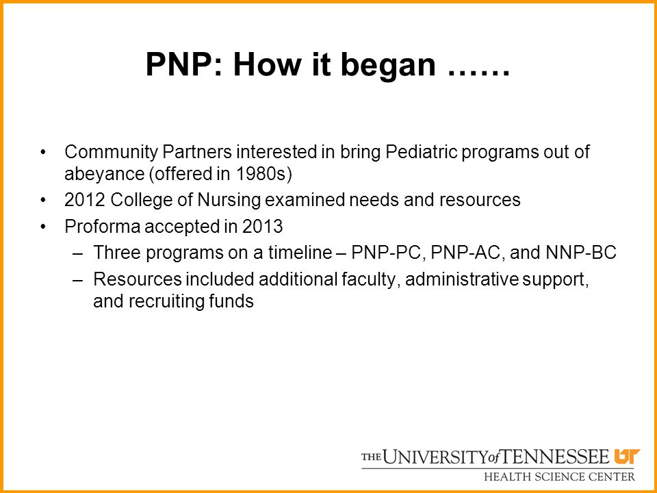 PNP: How it began …… Community Partners interested in bring Pediatric programs out of abeyance (offered in 1980s) 2012 College of Nursing examined nee