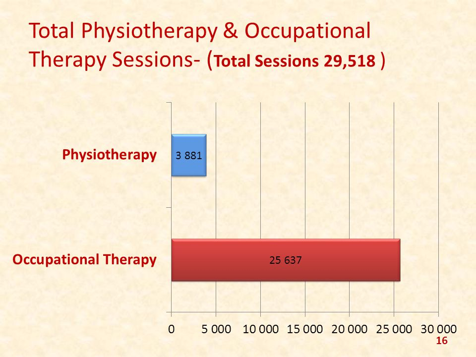 Total Physiotherapy & Occupational Therapy Sessions- ( Total Sessions 29,518 ) 16