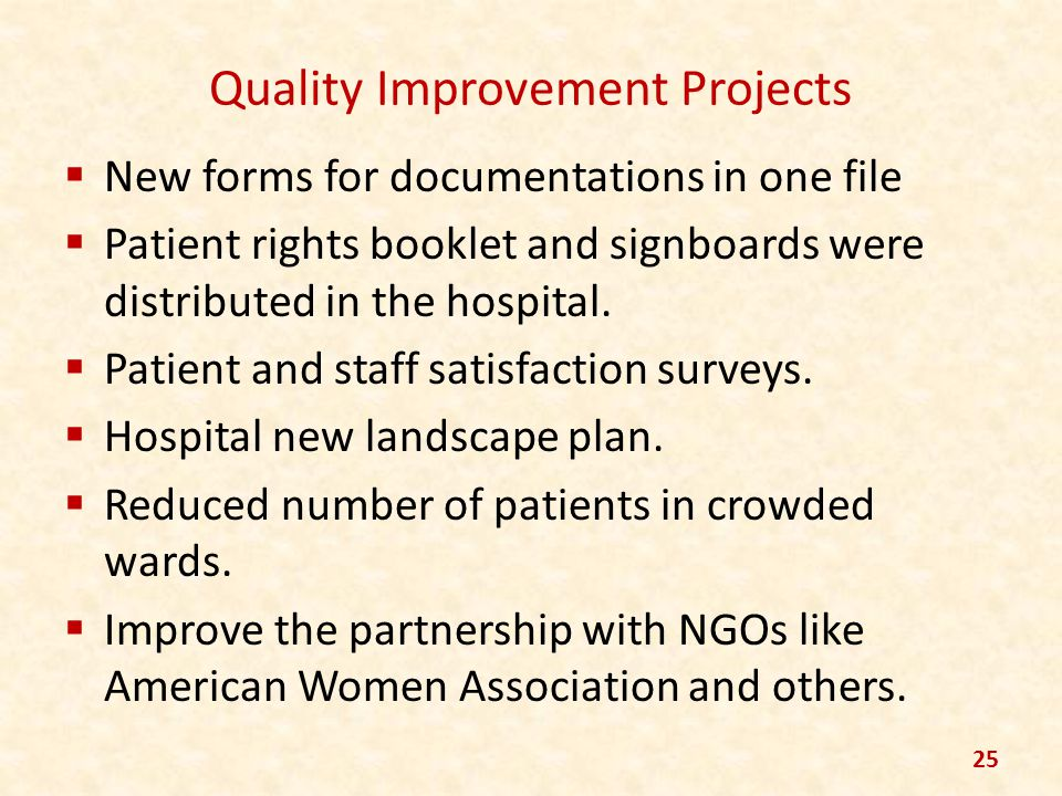 Quality Improvement Projects New forms for documentations in one file Patient rights booklet and signboards were distributed in the hospital. Patient