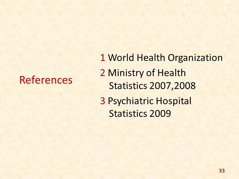 References 1 World Health Organization 2 Ministry of Health Statistics 2007,2008 3 Psychiatric Hospital Statistics 2009 33