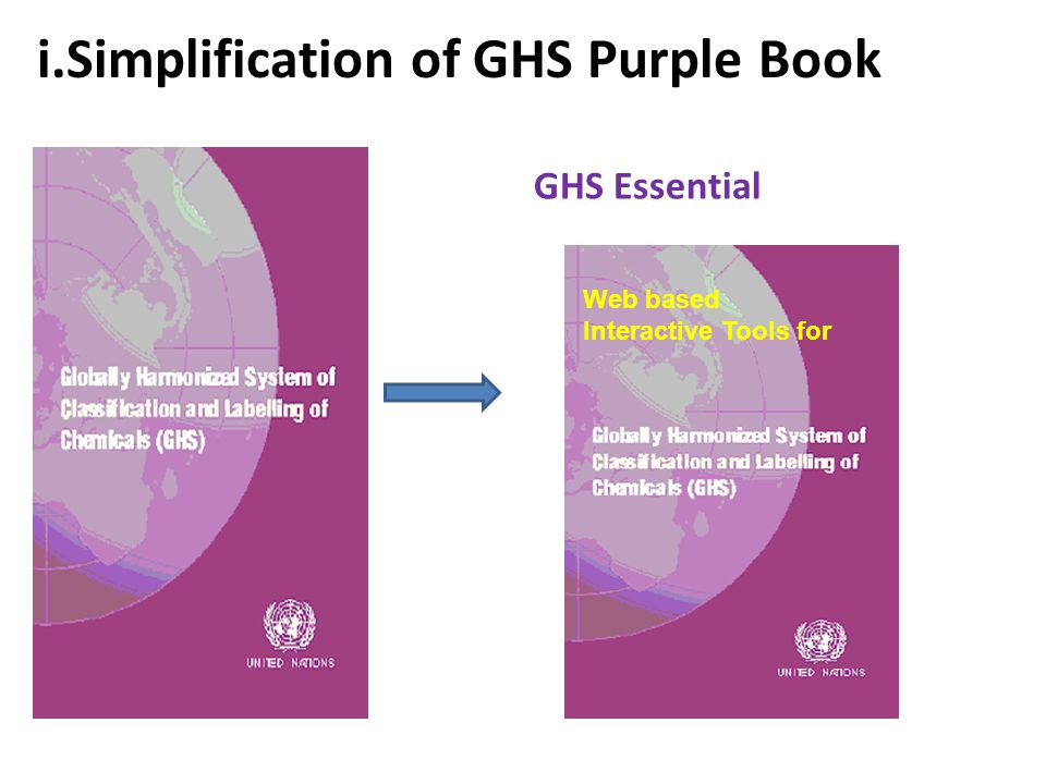 i.Simplification of GHS Purple Book GHS Essential Web based Interactive Tools for