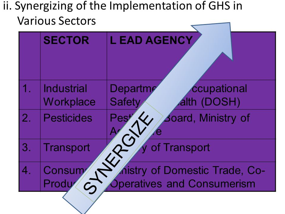 ii. Synergizing of the Implementation of GHS in Various Sectors SECTORL EAD AGENCY 1.Industrial Workplace Department of Occupational Safety and Health
