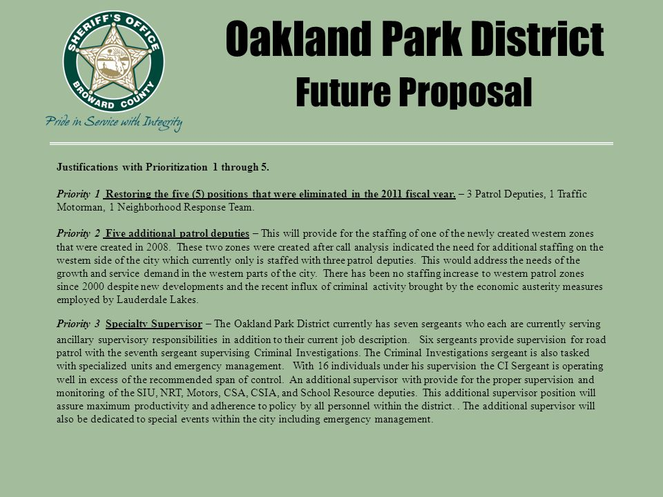 Oakland Park District Future Proposal Justifications with Prioritization 1 through 5.