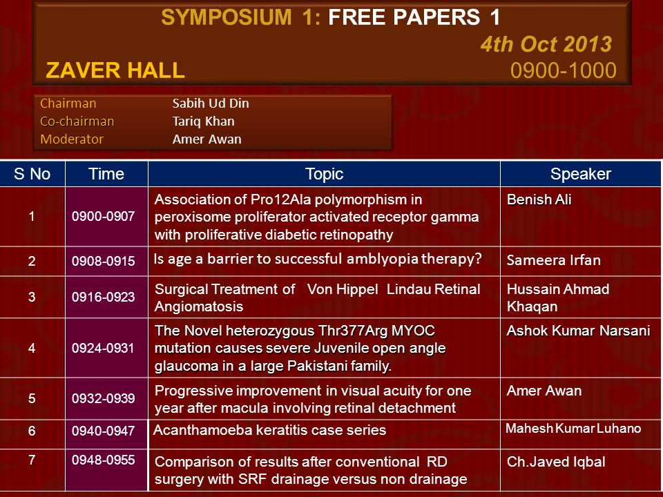 SEMINAR 12: Retina Interactive 6th Oct 2013 Mirajan Hall 1100 – 1200 S NoTimeTopicSpeaker 1 1100-1130 The anatomical and functional success of macular hole surgery- a retrospective audit Mohamed Mohyudin (UK) Usman Mehmood (UK) 2 1130-1200 Discussion
