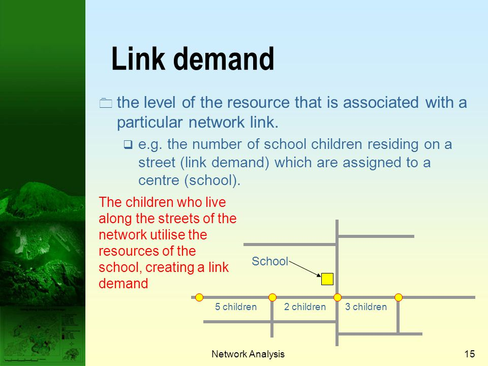 Network Analysis14 70 sec45 sec60 sec 70 sec45 sec Links Link Attributes attributes describing links (e.g. one- or two-way, number of lanes, etc.) Lin