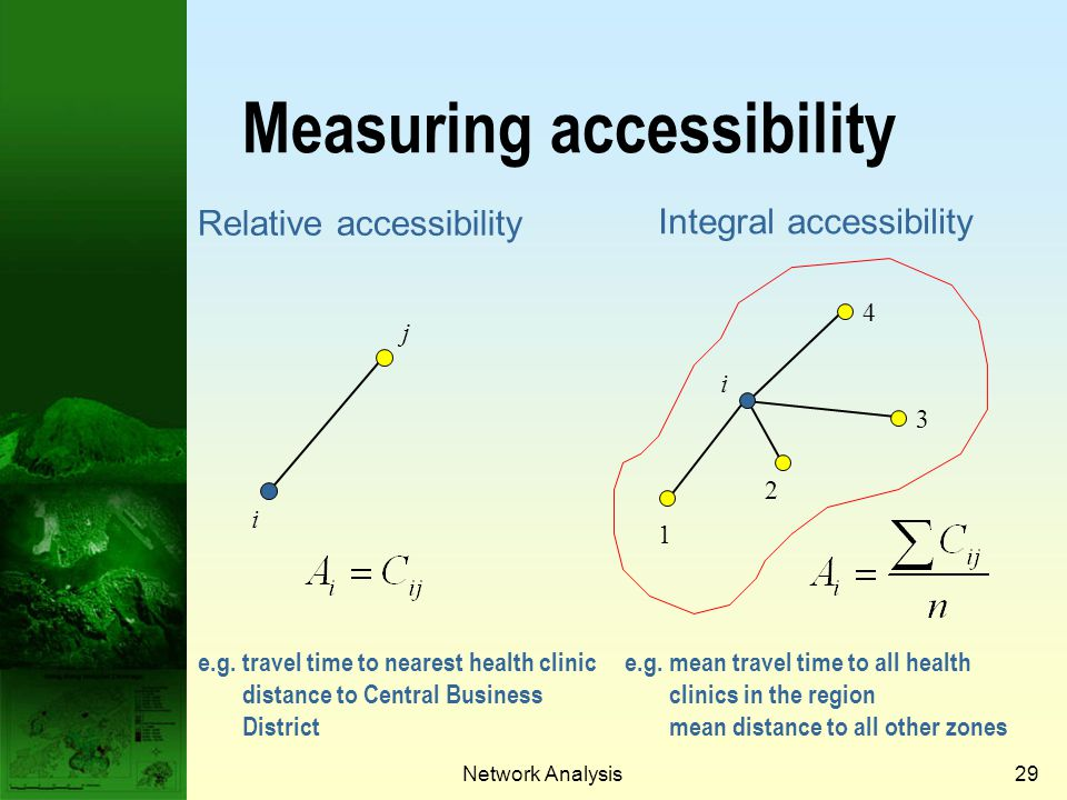 Network Analysis28 Accessibility Accessibility provides an aggregate measure of how accessible a location is to other locations.