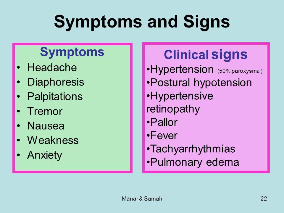 Manar & Samah22 Symptoms and Signs Symptoms Headache Diaphoresis Palpitations Tremor Nausea Weakness Anxiety Clinical signs Hypertension (50% paroxysm