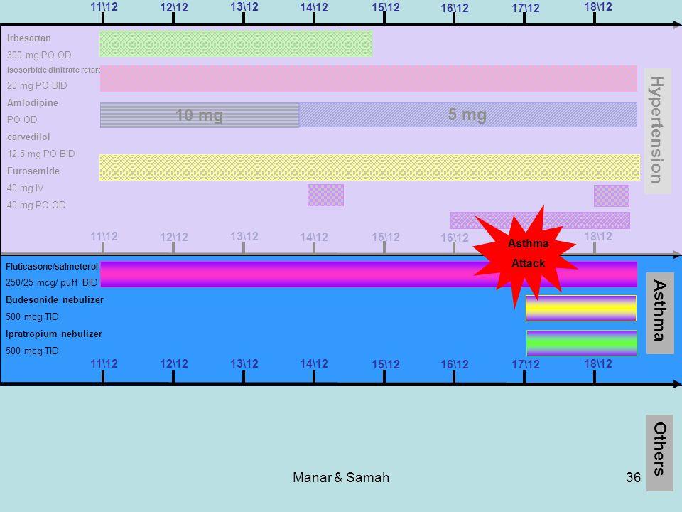 Manar & Samah36 11\1218\12 17\1216\12 15\12 14\12 13\12 12\12 Hypertension Asthma Others 11\1218\12 17\1216\12 15\12 14\12 13\12 12\12 11\1218\12 17\1