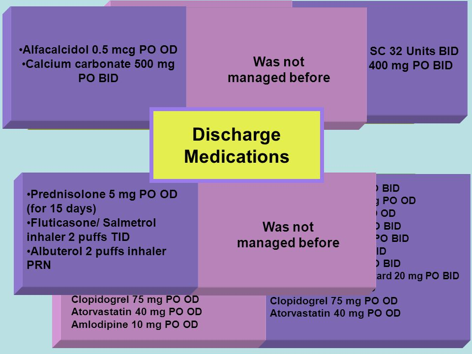 Manar & Samah49 Hypertension/ CV Problems COPD Daibetes/ Complications Osteoporosis was on Insulin NPH SC 32 Units BID Gabapentin 400 mg PO BID Same M