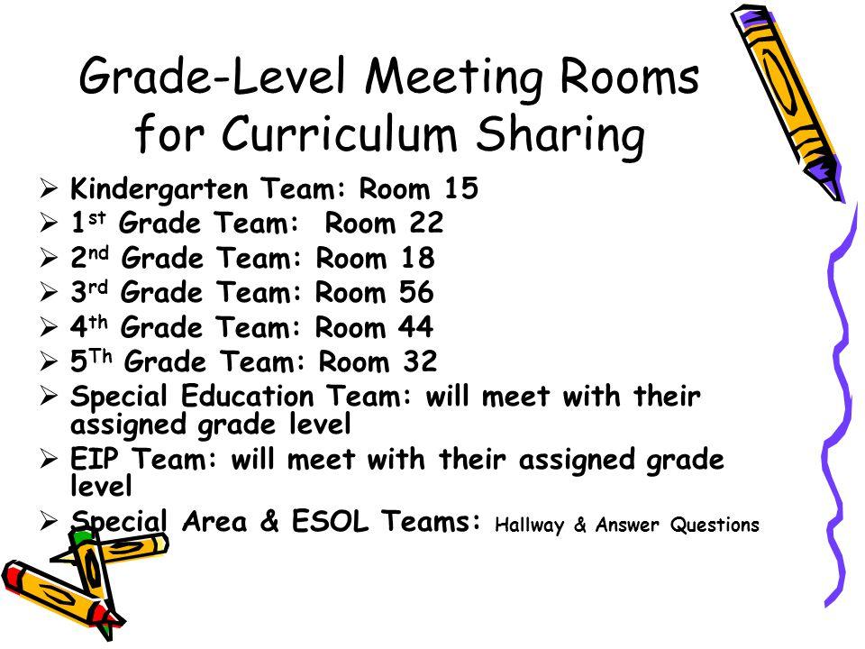 Grade-Level Meeting Rooms for Curriculum Sharing Kindergarten Team: Room 15 1 st Grade Team: Room 22 2 nd Grade Team: Room 18 3 rd Grade Team: Room 56