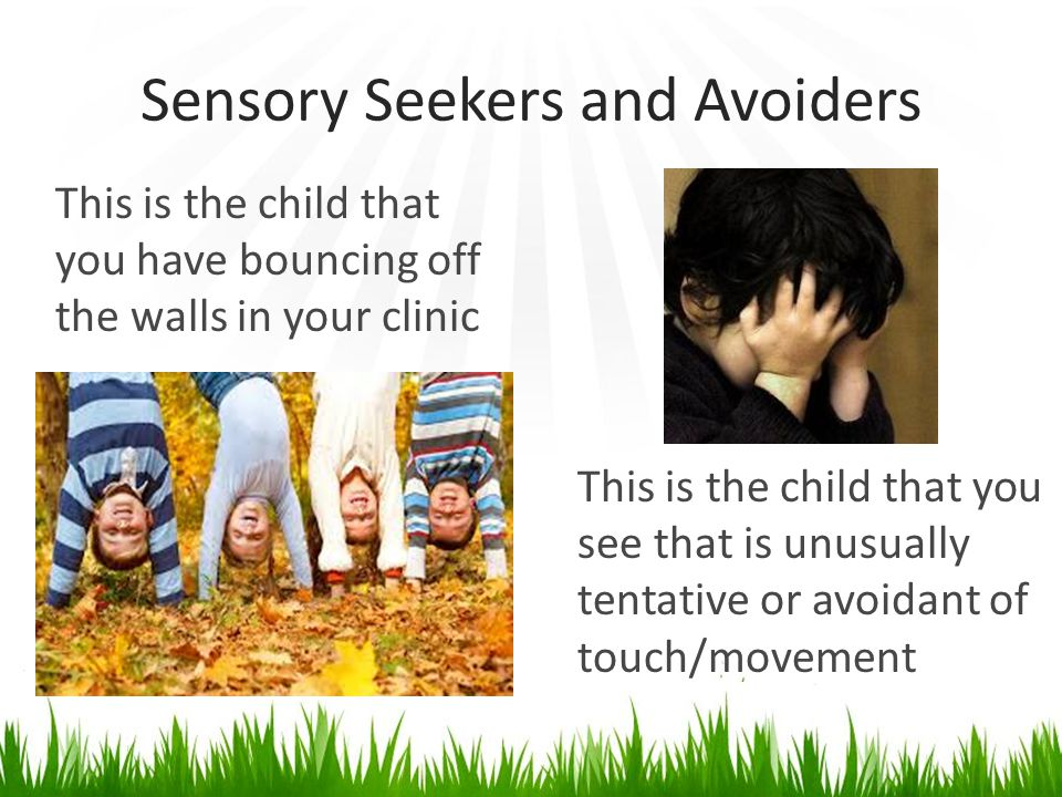 Sensory Seekers and Avoiders This is the child that you have bouncing off the walls in your clinic This is the child that you see that is unusually tentative or avoidant of touch/movement