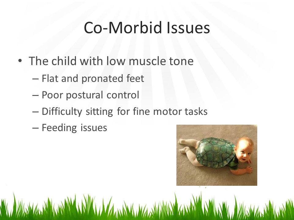 Co-Morbid Issues The child with low muscle tone – Flat and pronated feet – Poor postural control – Difficulty sitting for fine motor tasks – Feeding issues